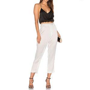 Kendal + Kylie White Silk Draped Trouser Pants S